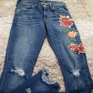 Express sequin floral jeans